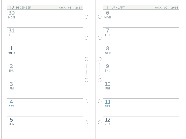 pdf de calendar 印刷 無地 lr